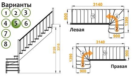 Лестница   К-001м/5  Л  сосна (5 уп)