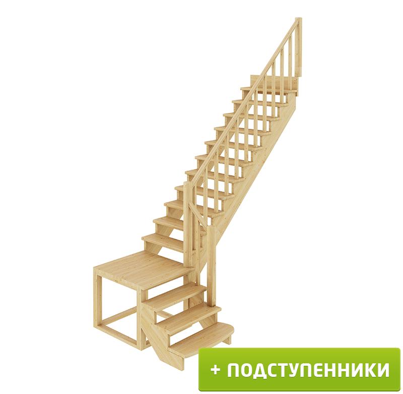 Лестница  К-002м/1 П c подступенками сосна (6 уп)