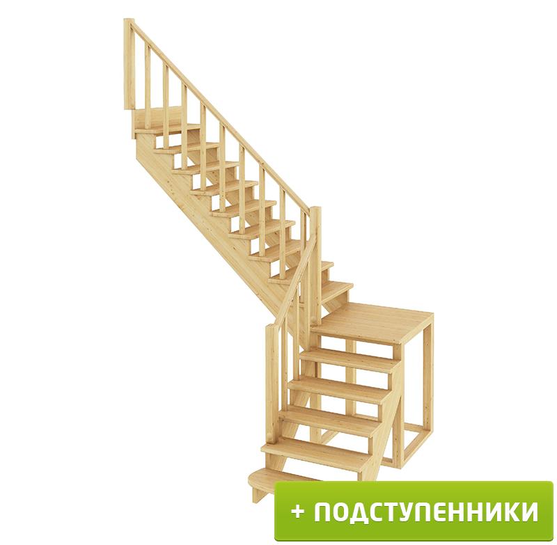 Лестница  К-002м/2 Л c подступенками сосна (6 уп)