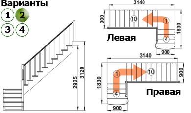 Лестница  К-002м/2 П c подступенками сосна (6 уп)