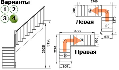 Лестница  К-002м/4  П  сосна с подступенками (7 уп)