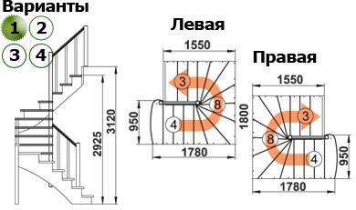 Лестница  К-003м/1  Л  сосна (5 уп)