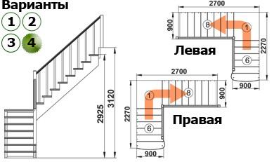 Лестница  К-002м/4  Л  сосна с подступенками (7 уп)