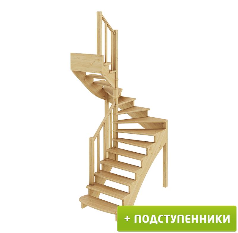 Лестница  К-003м/3 Л сосна с подступенками (6 уп)